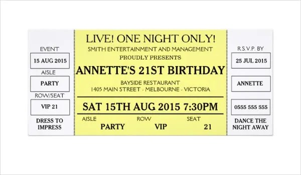 17+ Concert Ticket Templates - Free PSD, AI , Vector EPS Download - concert ticket birthday invitations