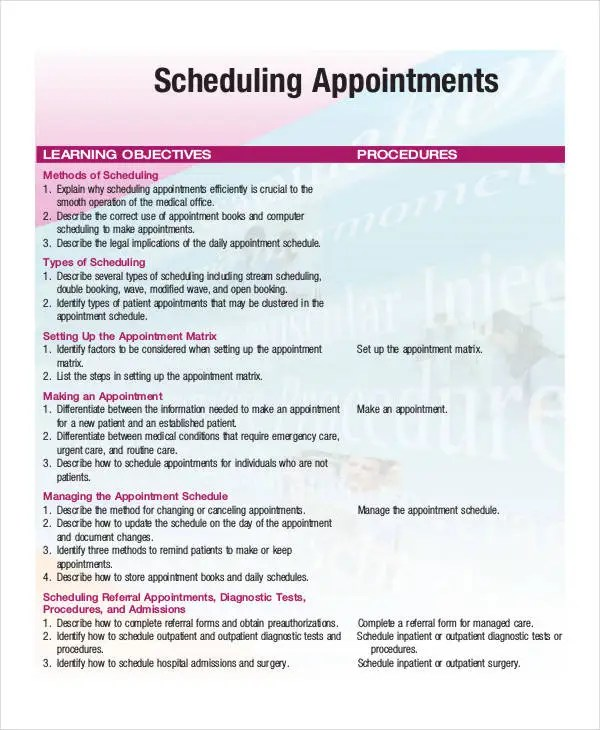 hair salon appointment book template