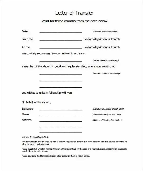 44+ Transfer Letter Templates - PDF, Google DOC, Excel, Apple Pages