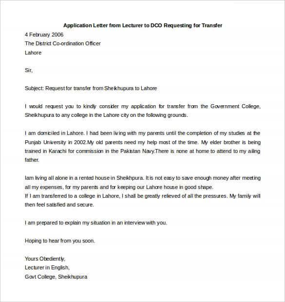 41+ Transfer Letter Templates - PDF, DOC, Excel Free  Premium - letter samples