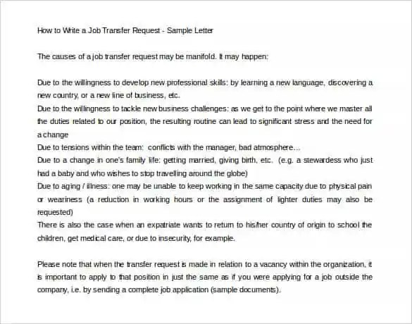 Write Job Application Letter For The Post Of Lecturer 33 Transfer Letter Templates Free Sample Example