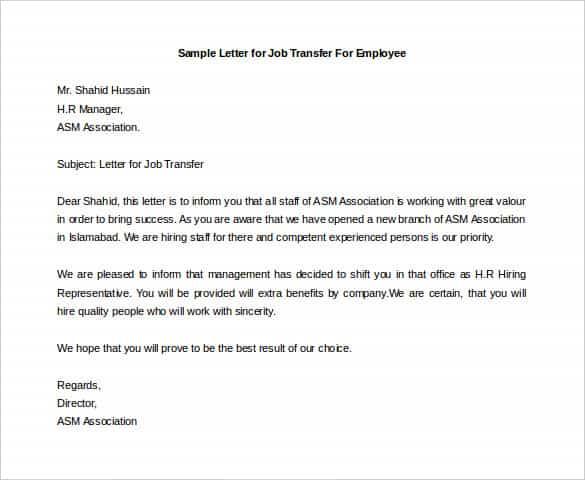 41+ Transfer Letter Templates - PDF, DOC, Excel Free  Premium - sample office letters