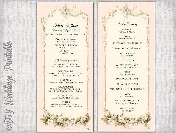 wedding programs templates free