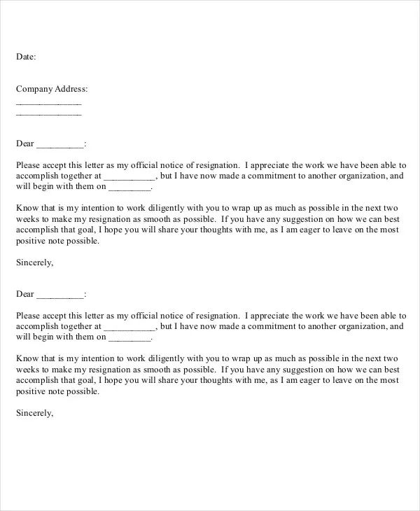basic letter of resignation template