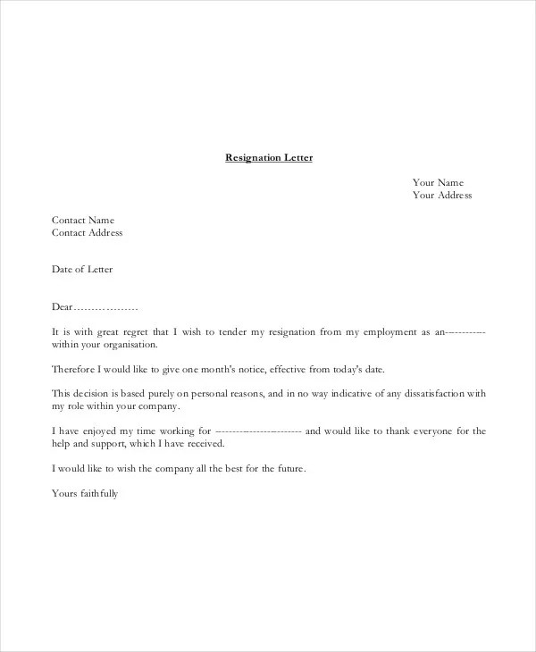 quick resignation letter - Cerescoffee - quick tips writing resignation letters
