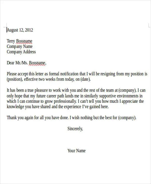 Internship Resignation Letter Template - 6+ Free Word, PDF Format - when to quit your internship