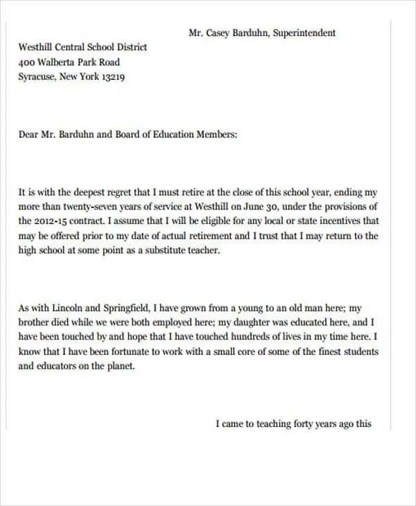 Resignation Letter Template Teacher | Best Resume Format Law