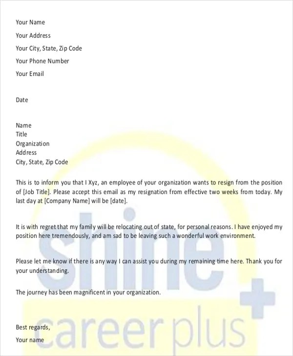 Resignation Letter Due to Relocation Template - 7+ Free Word, PDF
