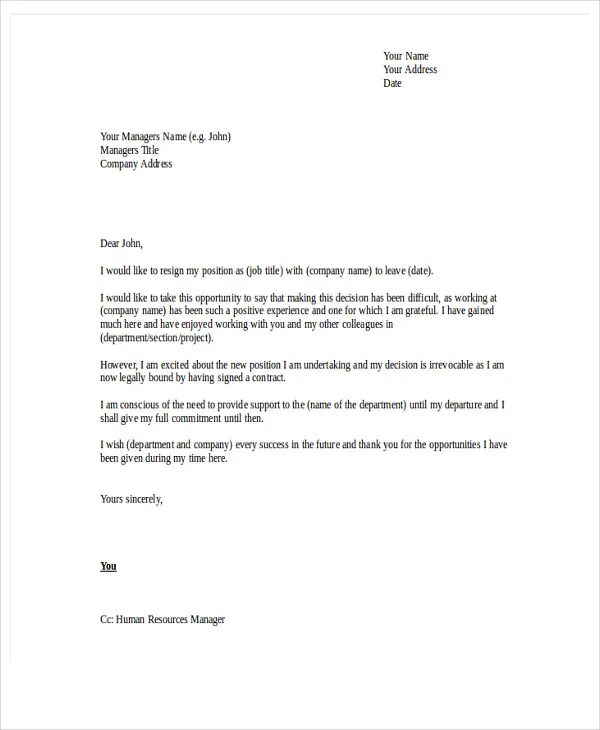 example resign letter - Goalgoodwinmetals - example of resignation letters