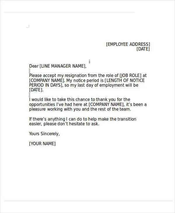 Heartfelt Resignation Letter Template - 7+ Free Word, PDF Format - heartfelt resignation letter