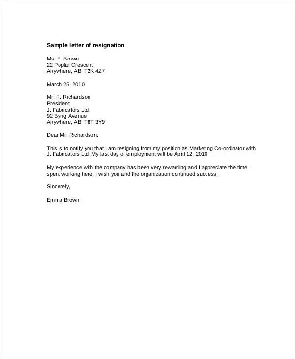 8+ Resignation Letter With 30 Day Notice Template - PDF, DOC Free