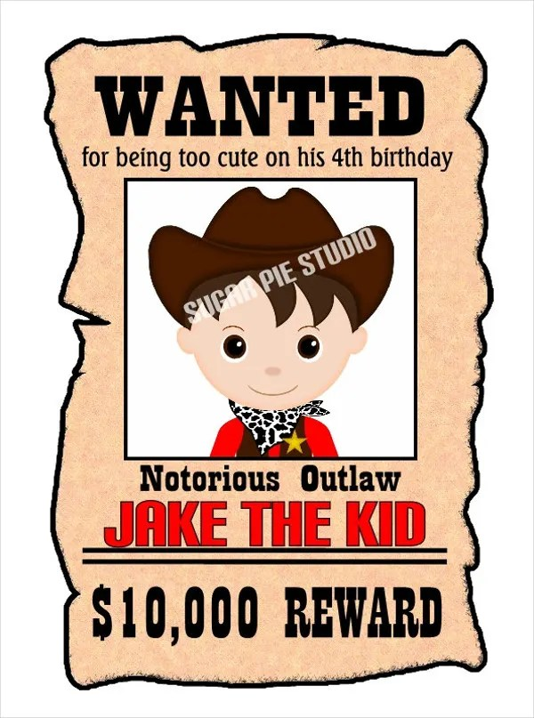 Wanted Posters Templates - dinosauriensinfo