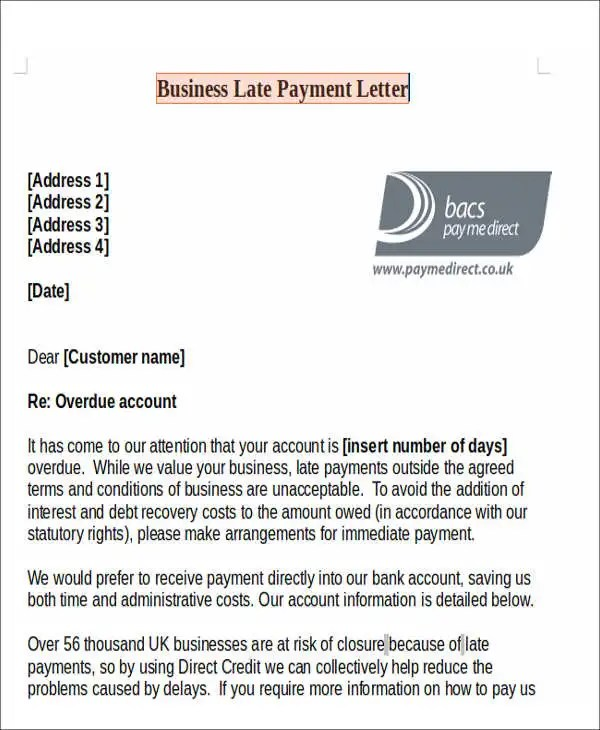 11+ Late Payment Letter Templates - Word, Google Docs, Apple Pages