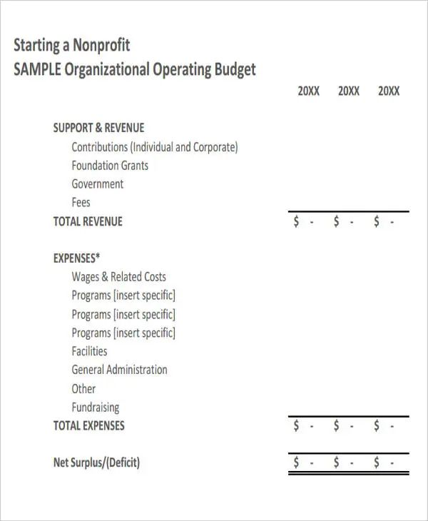 non profit budget sample