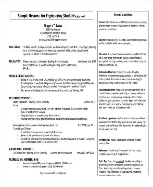 10+ Fresher Resume Format Templates - PDF, DOC Free  Premium - Some Resume Formats