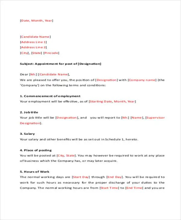 Job Appointment Letter Template - 6+ Free Word, PDF Format Download - job appointment letter