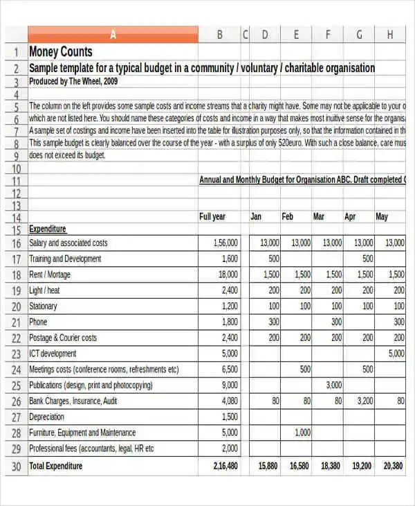 non profit sample budget - Kubreeuforic