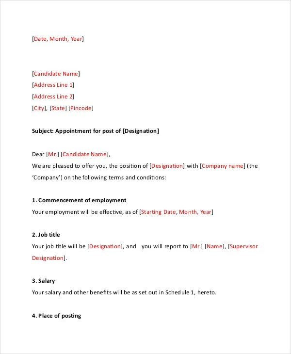 simple appointment letter format doc - Goalgoodwinmetals