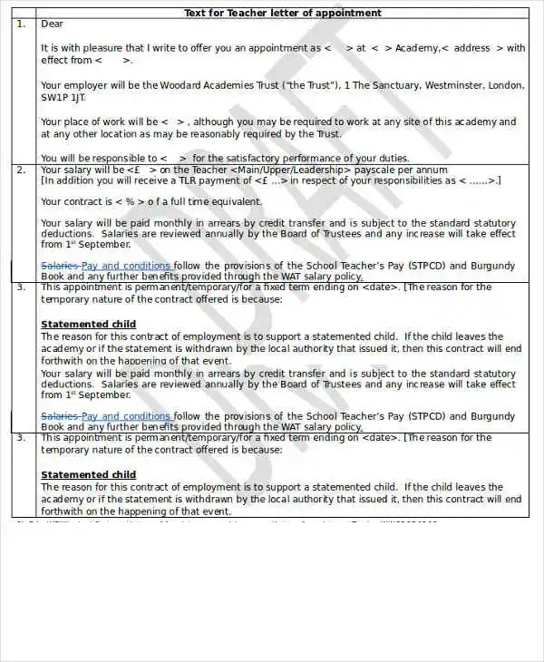 Teacher Appointment Letter Template -9+ Free Word, PDF Format
