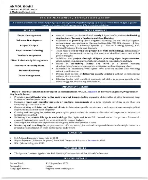 best cv format for experienced