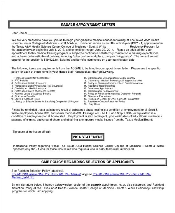 Interview Appointment Letter - 7+ Free Word, PDF Documents Download