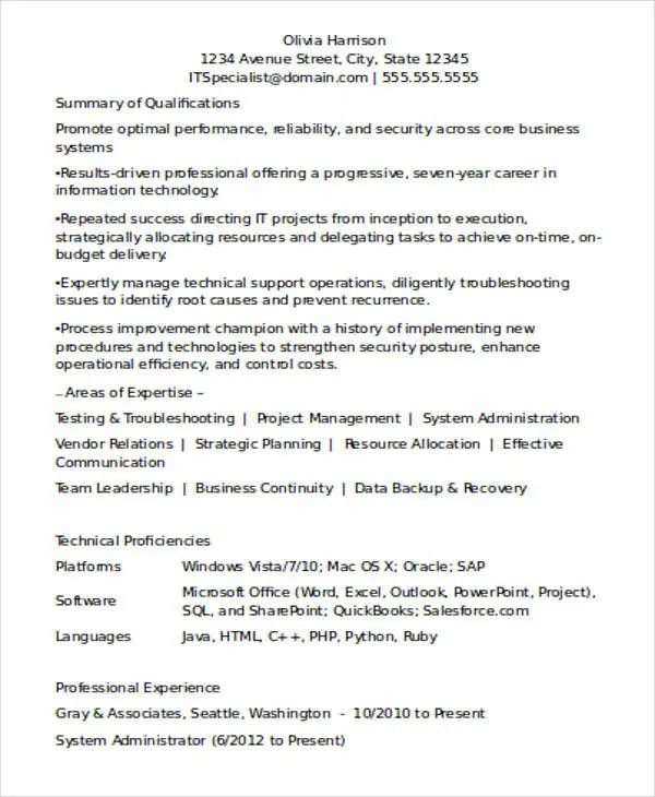 resume format for experienced it professionals - Onwebioinnovate