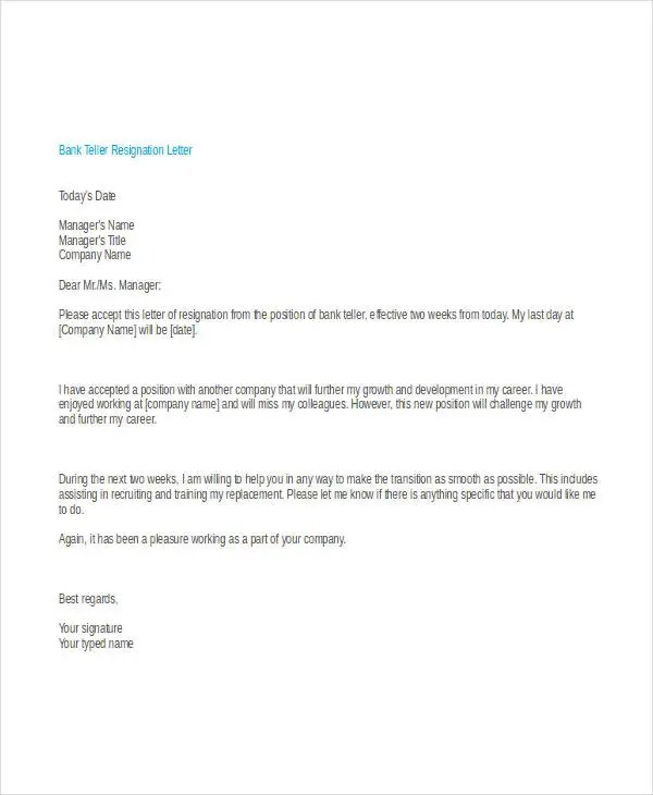 Sample Cover Letter For A Job In A Bank Livecareer 30 Simple Resignation Letters Free And Premium Templates