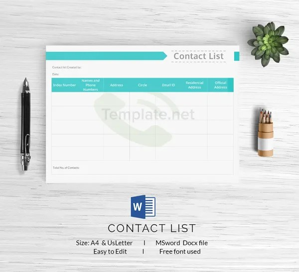 15+ Free List Templates - Inventory, Medication, To-Do List - free contact list template