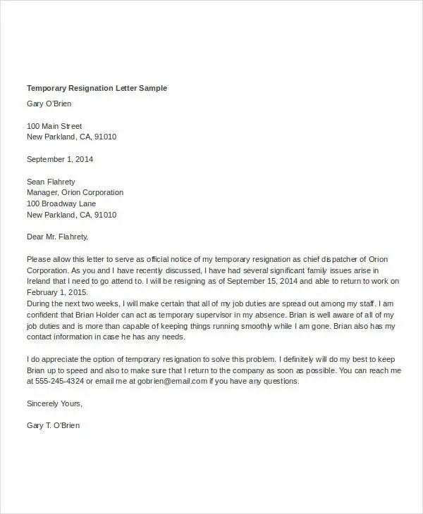 Temporary Resignation Letter Template - 5- Free Word, PDF Format - Temporary Resignation Letter