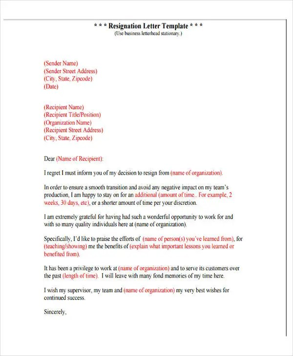 4+ Resignation Letter with Regret Template - 5+ Free Word, PDF - resignation letter with regret