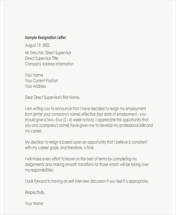 4+ Resignation Letter with Regret Template - 5+ Free Word, PDF - sample resignation letters