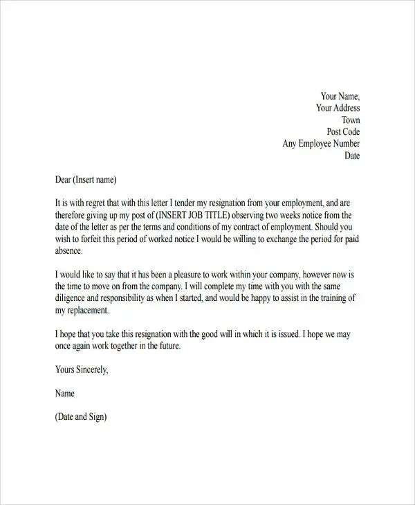4 resignation letter with regret template 5 free word pdf good resignation format - Example Of Letter Of Resignation Two Weeks Notice