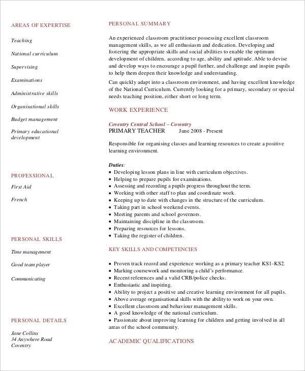 8+ Teaching Fresher Resume Templates - PDF, DOC Free  Premium