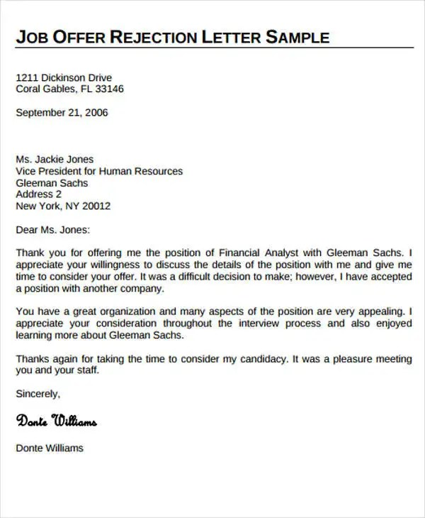 Offer Rejection Letter Template - 5+ Free word, PDF Format Download