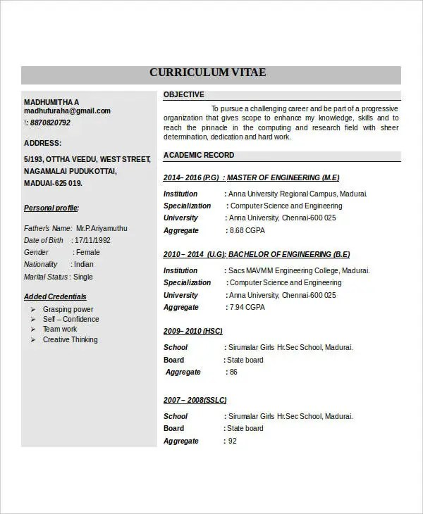 IT Fresher Resume - 6+ Free Word, PDF Documents Download! Free