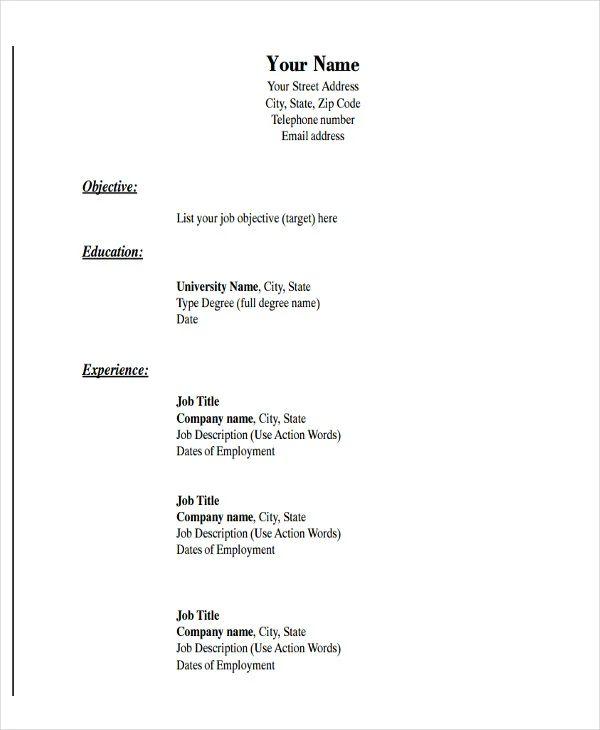 simple cv format pdf