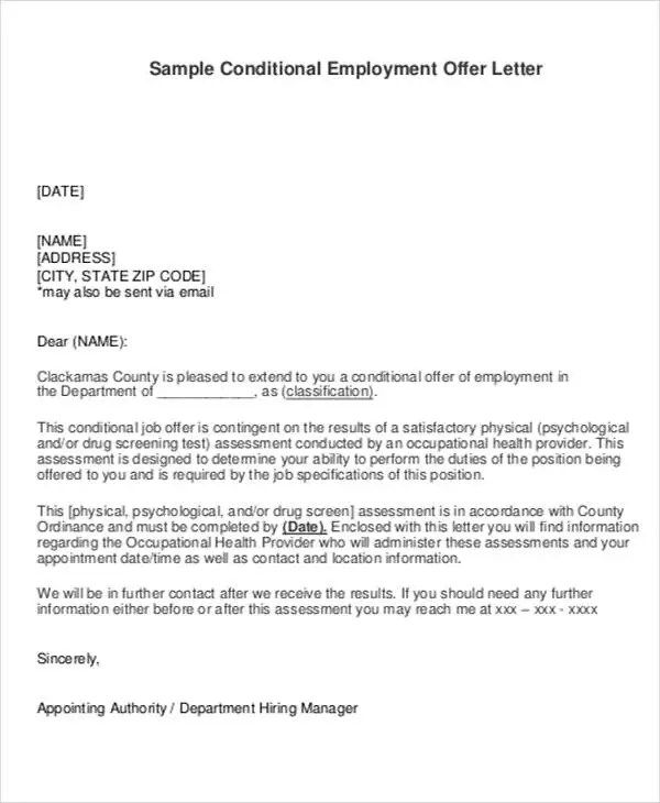 Employment Offer Letter Template - 6+ Free Word, PDF Format Download