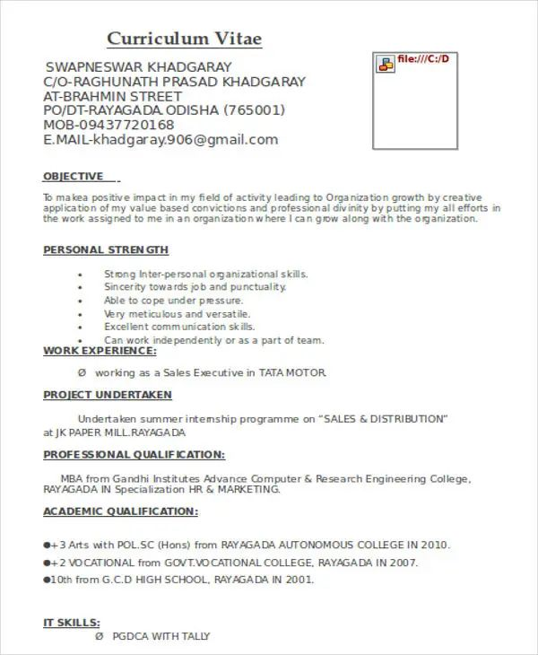 resume objective for marketing