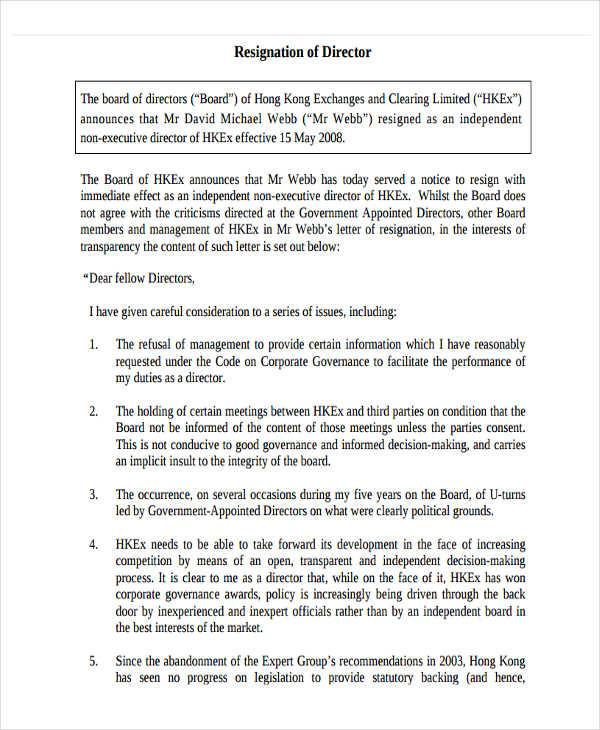 6+ Board Resignation Letter Template - 6+ Free Word, PDF Format - board resignation