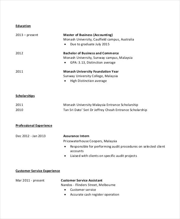 4+ Fresher Accountant Resume - 6+ Free Word, PDF Documents Download