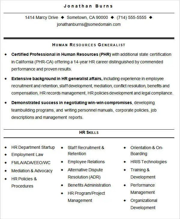 HR Resume Format Template - 9+ Free Word, PDF Format Download - Best Skills For Resume