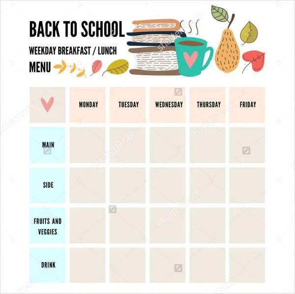 preschool menu template - Alannoscrapleftbehind