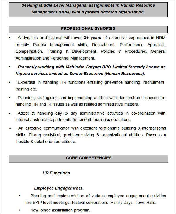 HR Resume Format Template - 9+ Free Word, PDF Format Download