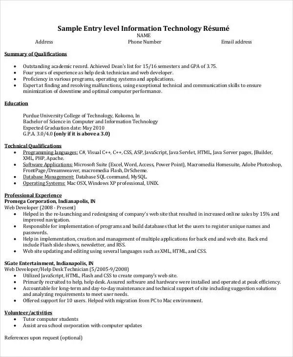 example resume for information technology