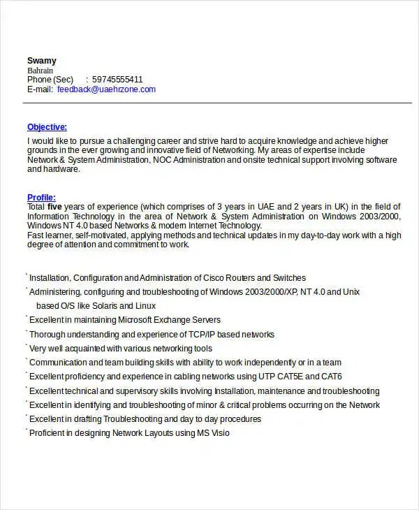 IT Resume Format Template - 7+ Free Word, PDF Format Download - it resume format