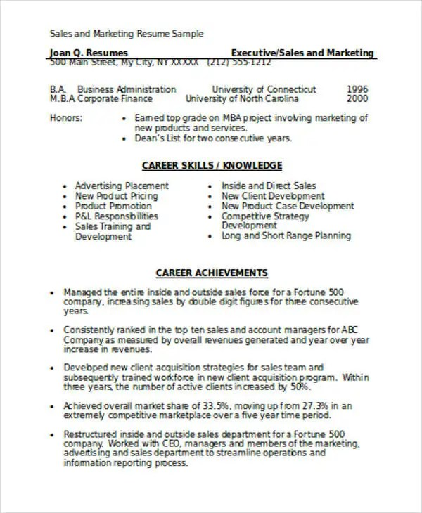 Marketing Resume Format Template - 7+ Free Word, PDF Format Download - New Resume Format
