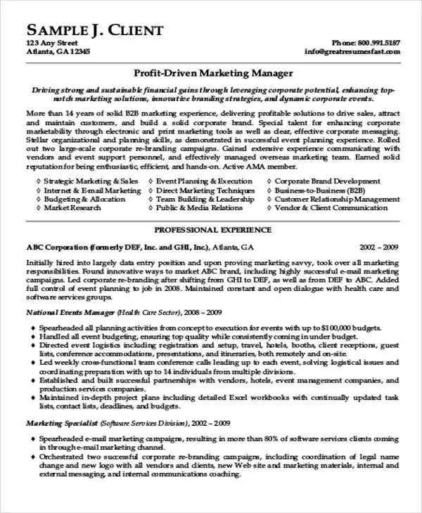 Resume Format Marketing Professional - Marketing CV Example