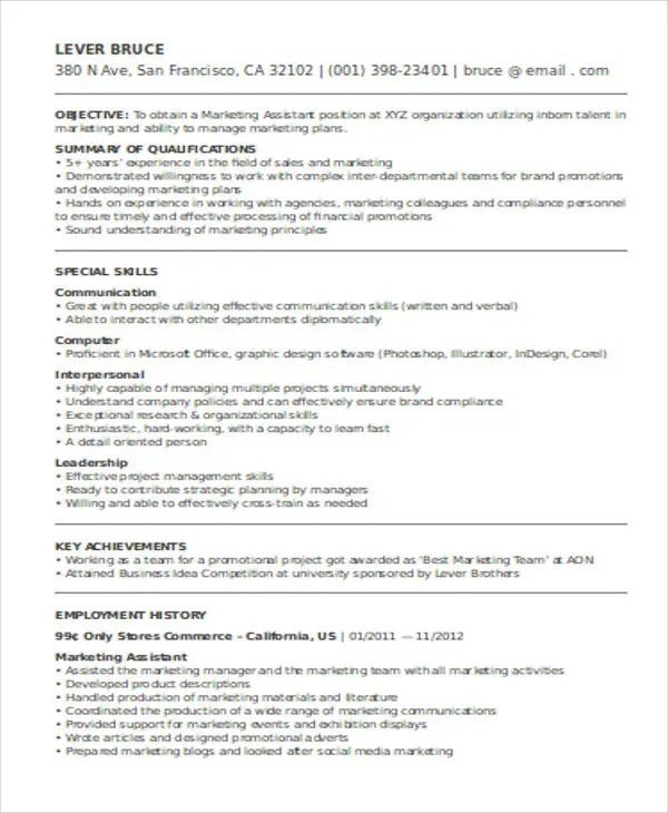Psychology Essay Papers - Trinity Renewal Systems - sample resume - marketing objective for resume