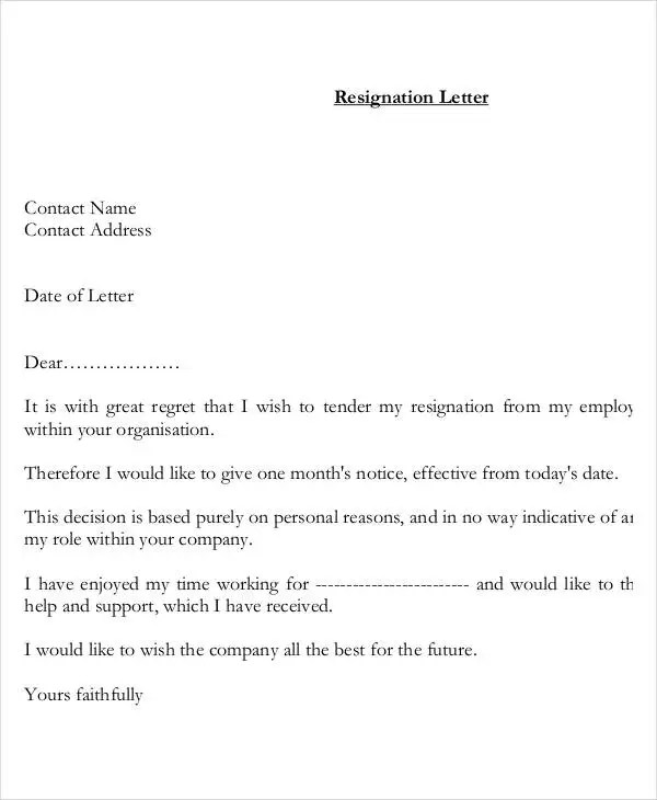 Resignation Letter with Reason Template - 13+ Free Word, PDF Format
