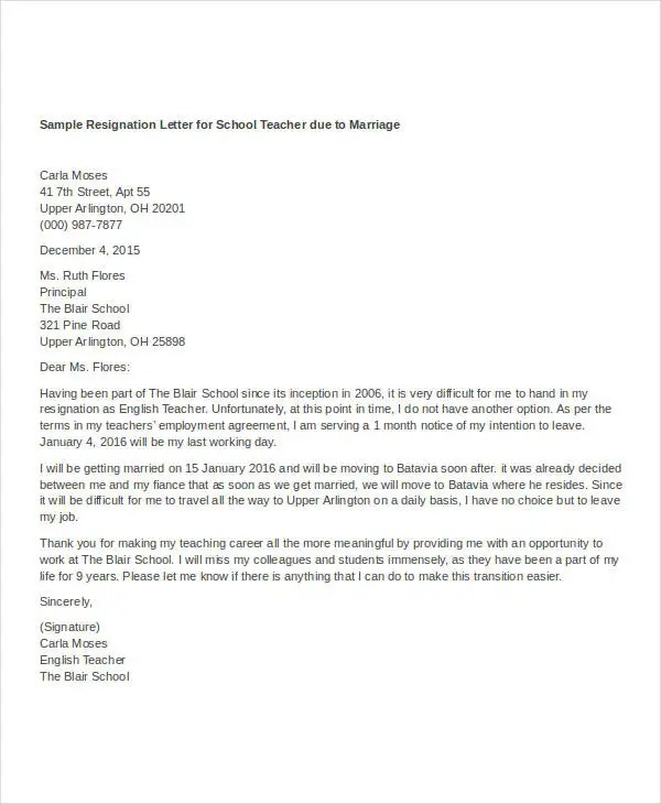 Resignation Letter For Personal Reason Sample Template Resignation Letter With Reason Template 7 Free Word
